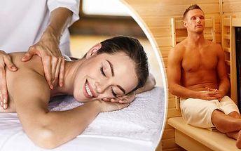 10min. infrasauna + 30-90min. klasická regenerační, medová, relaxační, Breussova nebo čínská masáž Tuina!