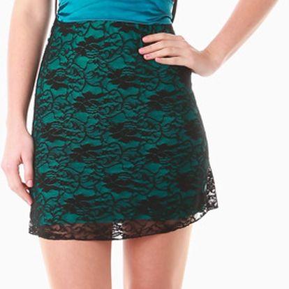 Dámské mini šaty s krajkou tmavě zelená