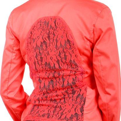 Krásné sako s krajkou korálová