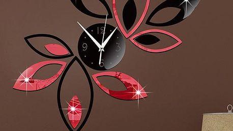 Designové nástěnné hodiny s lístečky - na zeď - poštovné zdarma