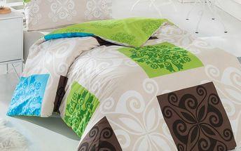 Bedtex Bavlněné povlečení Sedef zelená, 140 x 220 cm, 70 x 90 cm