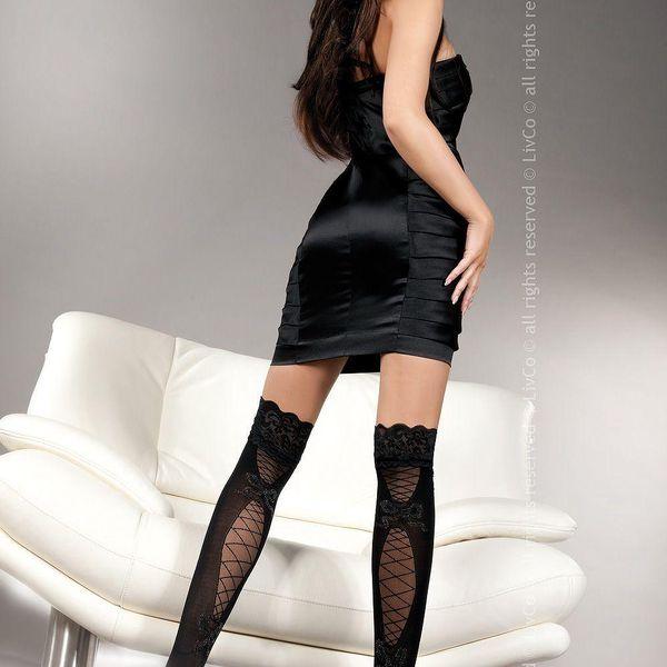 Dámské podvazkové punčochy Livia Corsetti Fashion 34806 - černá barva, velikost S/L