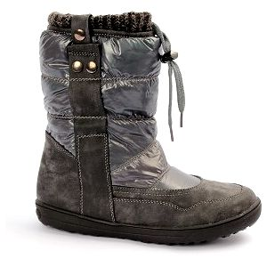 Moderní zateplené boty s nápletem kovově šedé