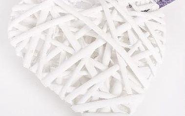 Bílé proutěné srdce malé