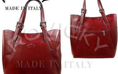 Dámská kabelka z pravé italské kůže červená