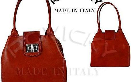 Dámská kožená kabelka z pravé italské kůže červená