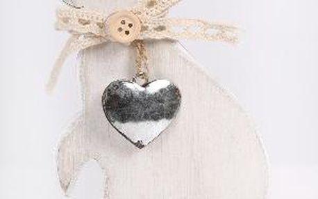 Dekorativní dřevěný králík se srdcem na krku