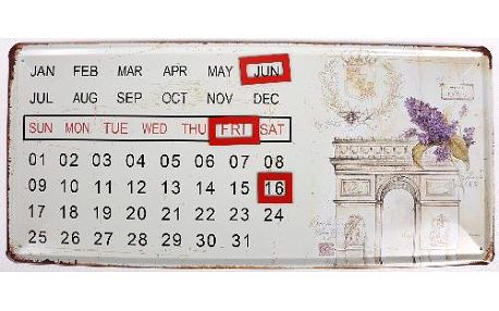 Plechový kalendář na zeď motiv Vítězný oblouk