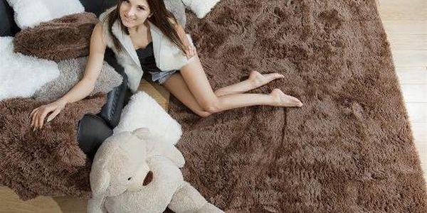 Plyšový koberec 120X160 cm - hnědý