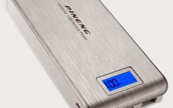 Externí baterie Power Bank s digitálním displejem 20800 MAH stříbrná