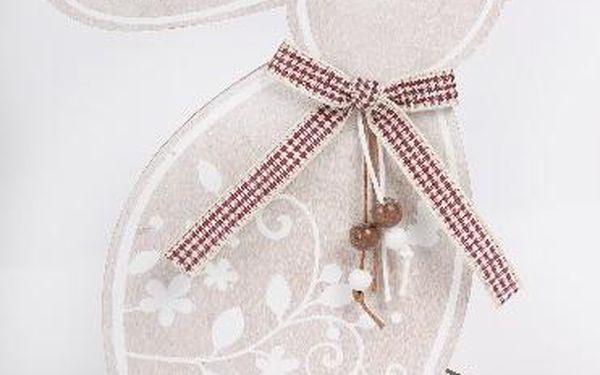 Dřevěný dekorativní králík s mašlí