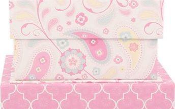 Sada 3 úložných krabic Pink Dream