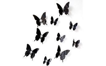 Sada 12 3D samolepek Ambiance Wall Black Butterflies