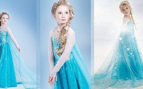 Dětský kostým (velikost 110 a 140), šaty princezny Elsy zLedového království, staň se i ty opravdovou princeznou - Připravte pro své děti ideální masku a zaručte jim pozornost jejich okolí.