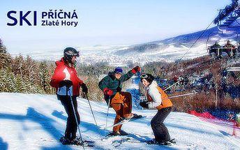 Celodenní skipas v lyžařském areálu SKI PŘÍČNÁ i s možností večerního lyžování, se slevou 50 %