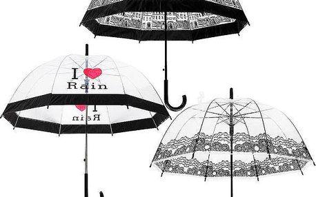 Elegantní průhledný deštník - 3 varianty