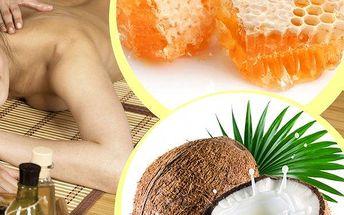 Relaxační masáž čokoládová, medová, skořicová nebo kokosová - hýčkání zad a nohou + zábal či peeling