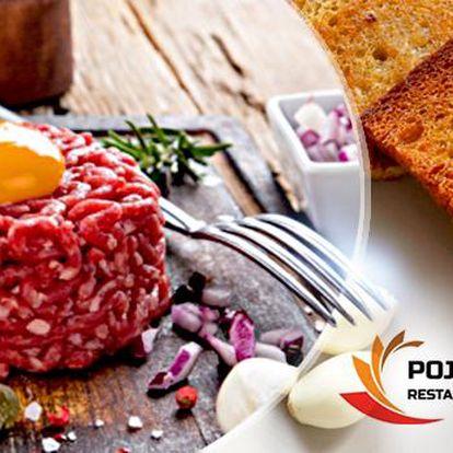 400g hovězí tatarák s 12 topinkami a česnekem! Hostina pro 2 osoby v restauraci Poja na Žižkově!