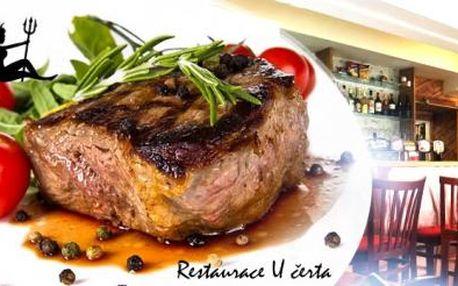 Biftek z panenské svíčkové s libovolnou omáčkou či 4chod. večeře s nápojem pro 1 osobu na Praze 8 v Restauraci U Čerta.