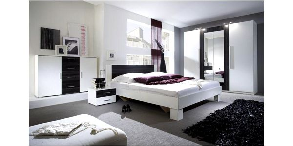 Kompletní sestava ložnice Veria, v dekoru bílá / černý ořech