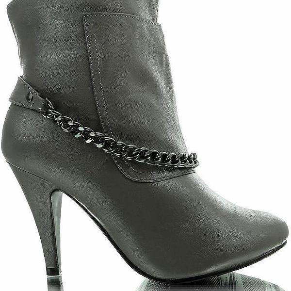 Kotníkové boty na podpadku s řetízkem - šedé, velikost 37