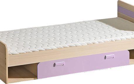 Smartshop LORENTTO, postel L13, jasan/fialová,včetně matrace