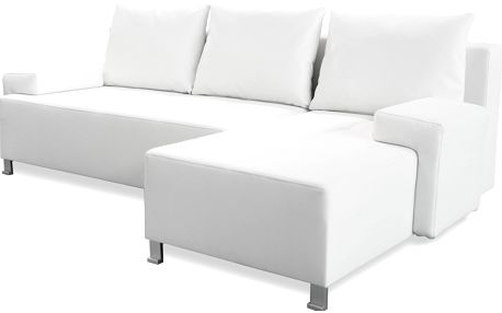 Smartshop Rohová sedačka TOSCANIA, levá z pozice sedícího, bílá ekokůže - DOPRODEJ + doprava zdarma