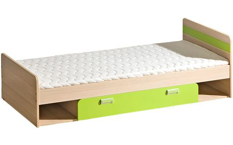 Smartshop LORENTTO, postel L13, jasan/limetka,včetně matrace