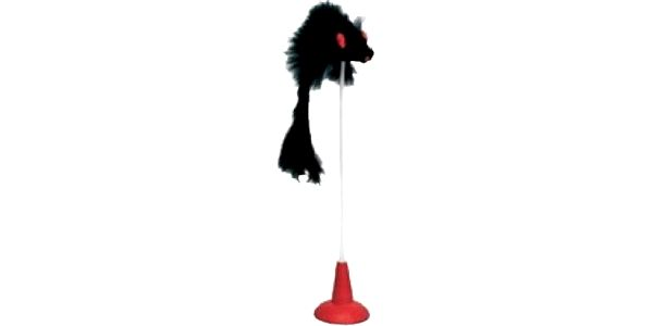 Hračka pro kočky - myš na prutu s přísavkou