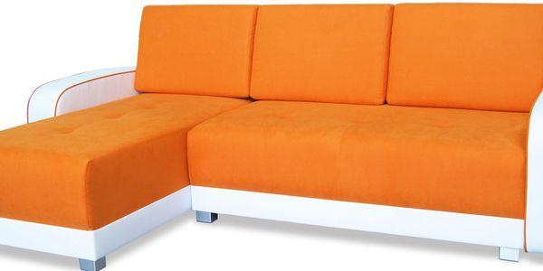 Rohová sedačka ROXY, univerzální roh, oranžová/bílá - DOPRODEJ