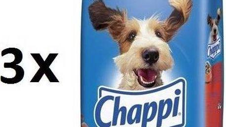 CHAPPI s hovězím a drůbežím masem 3 x 15 kg - AKCE 3 za 2 + navíc sleva 10% + Doprava zdarma