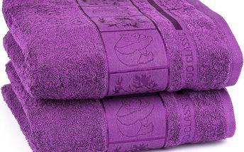 4Home ručník Bamboo Exclusive fialová, sada 2 ks, 50 x 100 cm