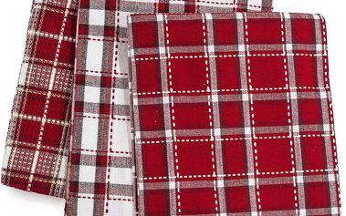 Forbyt Kuchyňská utěrka žakárová Reit červená, 45 x 70 cm, sada 3 ks