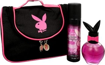 Dárková sada Super Playboy Women Eau De Toilette + deospray + kosmetická taška 50 ml + 75 ml