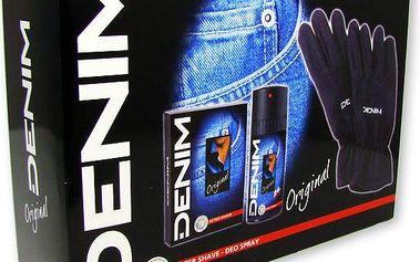 Dárková kazeta Denim Original voda po holení + deospray + rukavice na dotykové obrazovky 100 ml + 150 ml