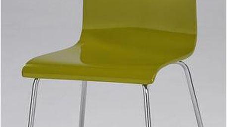 Autronic Jídelní židle C-520 GRN, chrom/vysoký lesk zelený
