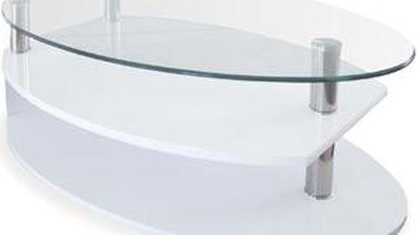 Autronic Konferenční stolek AHG-059 WT, sklo/vys. lesk bílý