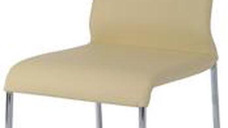 Autronic Jídelní židle B920 CRM, chrom/krémová koženka