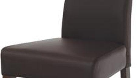 Autronic Jídelní židle BE21br WAL, koženka tm. hnědá/ořech