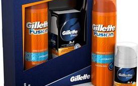 Dárková kazeta Gillette Fusion Hydra + Gillette Pro 3in1 balzám po holení 200 ml + 50 ml