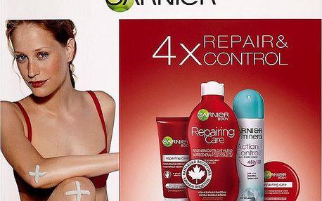 Dárková sada Garnier Repair&Control tělové mléko+regenerační krém+krém na ruce+deodorant 250 ml + 50 ml + 100 ml + 150 ml