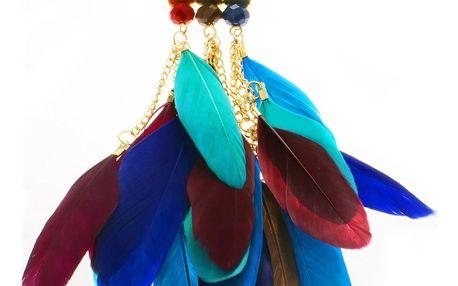 Fashion Icon Náhrdelník indiálnský dlouhý s kamínky a pírky