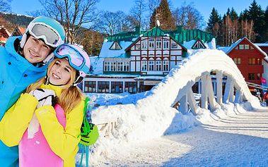 Lyžování v Krkonoších na dosah špičkovým skiareálům s polopenzí v hotelu Horní Pramen