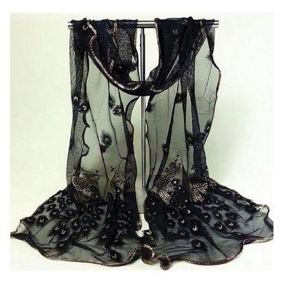 Paví pírka - jemný šátek - černá barva - dodání do 2 dnů