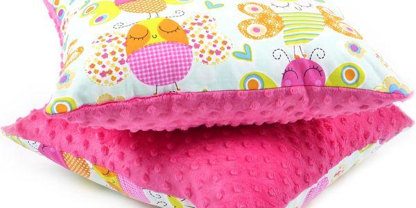 Dětský polštář s bavlnou a minky, MOTÝLCI, růžová 40x40 cm s výplní, Mybesthome