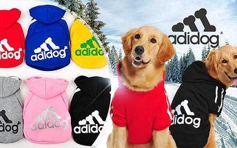 Hřejivá sportovní mikina pro malé i velké psy Adidog včetně poštovného! Na výběr z 5 barev a velikostí XS až 9XL.