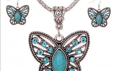 Set motýlkových šperků v tyrkysové barvě