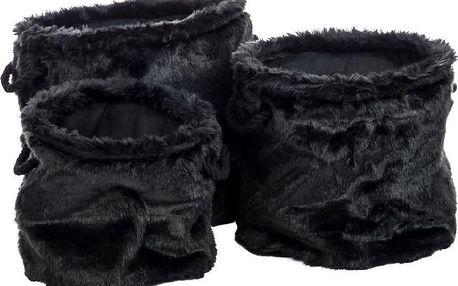 Set 3 košů Faux Fur Round - doprava zdarma!
