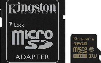 Paměťová karta Kingston MicroSDHC 32GB UHS-I U1 (90R/45W) + adapter (SDCA10/32GB) + Doprava zdarma