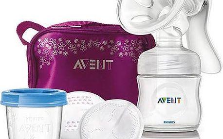 AVENT Natural se zásobníkem 125ml + taška fialová/průhledná
